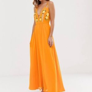 ASOS orange maxi dress with cut out details